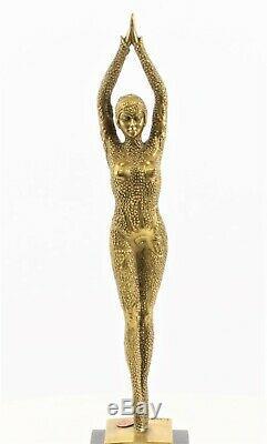 Art Déco Figure de Bronze Danseuse Femme Étoile de Mer Starfish Or