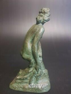 Art Déco, Sublime Bronze, Décor Femme Nu, Patine Verte, Signature d'Artiste