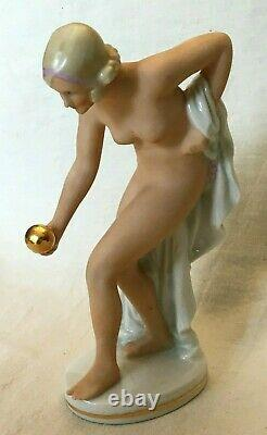 Art Déco figurine en porcelaine femme nu Germany Hutschenreuther Rosenthal