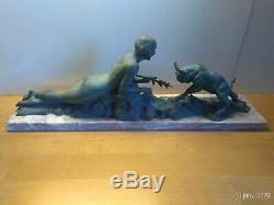 Art déco années 30 Sculpture femme nue au bouc signé Limousin régule & marbre