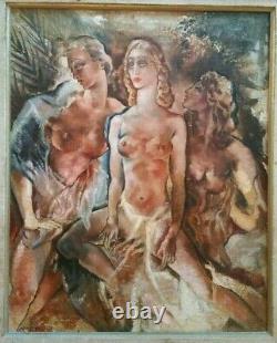 Arthur GREUELL, Tableau les trois femmes (HST), signé. Art déco(Suiv. LEMPICKA)