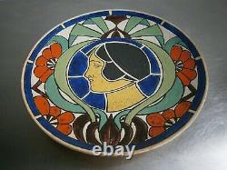 Assiette Murale Art Deco 1926 Profil Femme Mode Ceramique Emaille Ancien