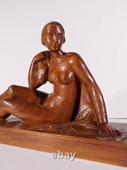 Auguste GUENOT sculpture bois femme nue statue Art Déco Toulouse Maillol