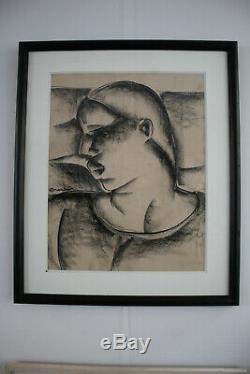 Auguste Mambour fusain de femme noire Période art déco