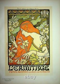 BERTHON Belle Epoque, La femme aux lys Lithographie originale signée, 1899