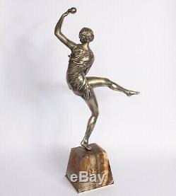 BRONZE ART DECO FEMME Danseuse À La Balle Signe 1930