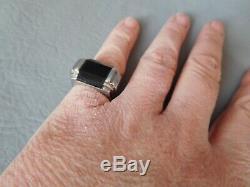 Bague Chevalière Art Deco Pierre Noire Onyx Argent Massif Homme Femme 53 Ring