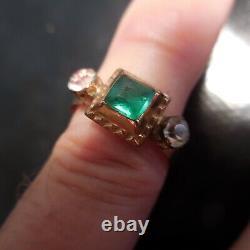 Bague or pierre précieuse émeraude saphir bijou femme Art Déco France N4033