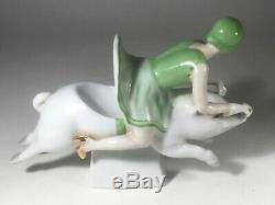 Baguier Sujet Porcelaine Polychrome Art Déco Femme Chevauchant Cochon Érotique