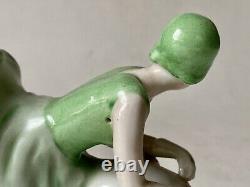 Baguier en Porcelaine Polychrome Art Déco Femme Chevauchant un Cochon Érotique