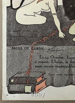 Bal de l'Internat 1921 Invitation Originale Art Déco Supplice Femmes Nues Mort