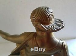 Beau bronze garantie d'époque 1930 art Déco jeune femme style D CHIPARUS