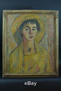 Beau tableau Portrait Jeune femme au Chapeau Jaune Art deco Expressionniste 1930