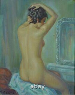Beau tableau ancien portrait jeune femme Nue à la coiffeuse signé ALBERT GENTA