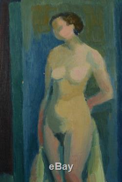 Beau tableau art deco jeune femme Nue dans l'atelier Paravent Rolland Rotges1930