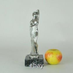 Beck, Femme Nue En Bronze Argenté, Sculpture Signée, Début 20eme Siècle