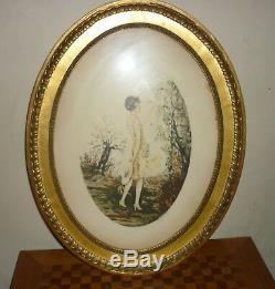 Belle Gravure Art Déco signé Dorval, genre Icart XIX ème femme