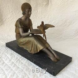 Belle STATUE Demeter CHIPARUS FEMME aux OISEAUX Fonte Edition Ancienne ART DECO