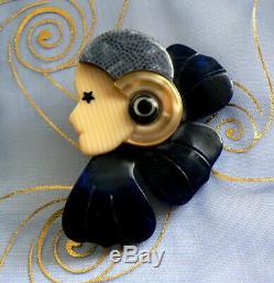 Bijou vintage brooch BROCHE LEA STEIN COROLLE profil de femme Art Déco