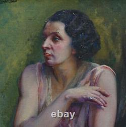 Blancat Portrait de Femme Epoque Art Deco Ecole Française du XXème siècle HST