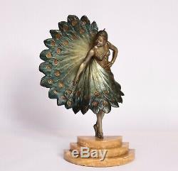 Bronze Art Deco Femme Éventail 1930