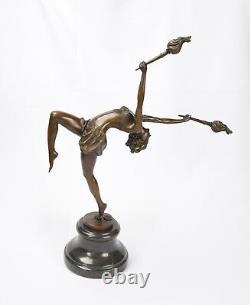 Bronze Sculpture The Flame Leaper Art Déco Femme Torch Dancer Danseuse Feu