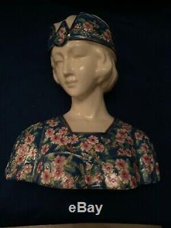 Buste De Femme En Faience STYLE ÉMAUX DE LONGWY ART DECO