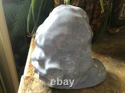 Buste Jeune Femme Art Déco en terre cuite émaillée bleu signé dlg Bouraine TBE