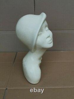 Buste de femme en céramique craquelé art déco signé