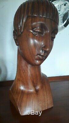 Buste femme Art Deco 1925 era Jacques Adnet en bois de rose