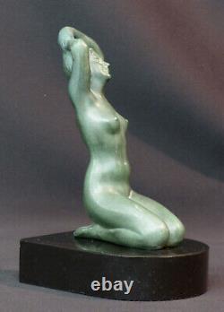 C 1920 superbe statue sculpture métal art nouveau déco 19cm1.4kg femme nue socle