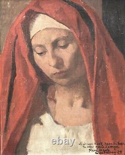 CASTAING René Marie Huile sur Toile Portrait de Femme Vierge Peinture Pau Béarn