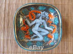 CAZAUX (Édouard) Grande COUPELLE Art Déco Femme nue assise (1950) pièce unique