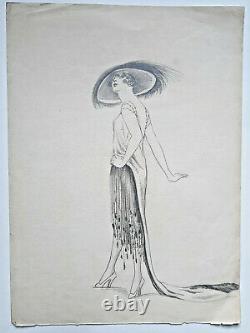 CHAPEAU Elegante Femme DESSIN ORIGINAL Mode ART DECO ca 1920