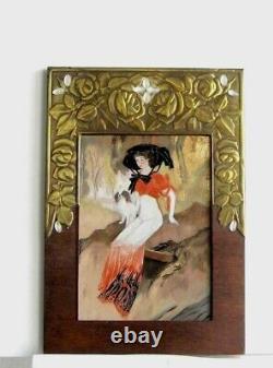 Cadre Ancien Art Deco Peinture Huile Repro De Feure Femme Et Petit Chien