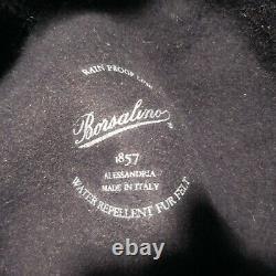 Chapeau bleu noir Borsalino 1857 ALESSANDRIA ITALY femme homme art déco N4669