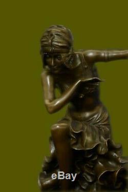 D H Chiparus Art Déco Bronze Sculpture Femme En Robe Figurine Chaud Fonte Deal