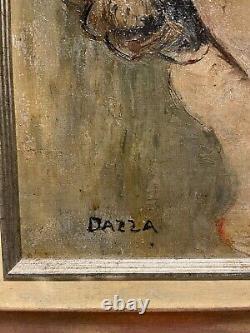 DAZZA Louis Huile s/ Toile Portrait de Femme Nue Seins Peinture dlg J-G DOMERGUE