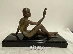 Demeter Chiparus Sculpture Régule Jeune Femme Au Livre Socle Marbre Signé An1930
