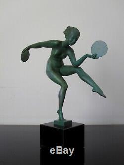 Derenne Ancienne statuette Femme danseuse. Art déco. Max Le Verrier. Signée