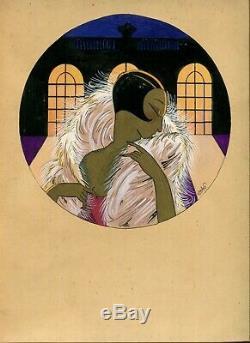 Dessin Ancien Original Art Deco, Scène de Genre, Personnage, Femme