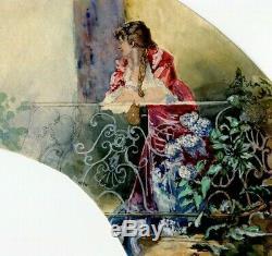 Dessin Ancien Original Femme, Balcon, Projet, Éventail