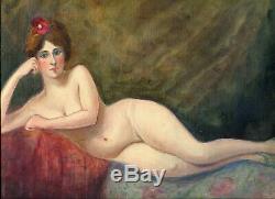 Dessin Ancien Original Femme Nue avec Fleur, Odalisque
