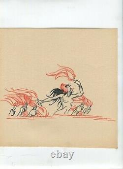 Dessin Ancien Original Marianne, Feu, Nue, Femme, Scène de Genre
