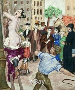 Dessin Ancien Original Scène de Genre, Femme, Personnages, Nue, Fouet