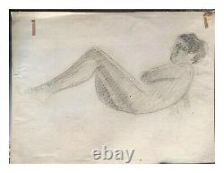 Dessin Ancien Original signé Jean PUY (1876-1960) Femme, Nue, Allongé