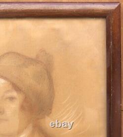 Dessin Art Déco Firmin BOUISSET (1859-1925) Portrait Femme Bonnet Cadre 1920