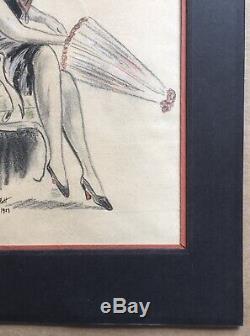 Dessin Art Déco Portrait Femme Ombrelle Chapeau Cloche William Ablett 1923