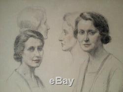 Dessin D'epoque Art Deco 1930 Delicats Portraits De Femmes Signee