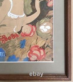Dessin Original Art Déco Eduardo Garcia Benito Scène Galante Femme Fleurs